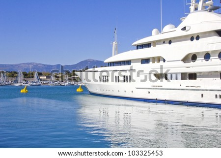 Big yacht in a blue sea - stock photo