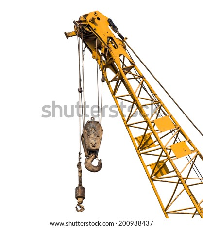 Big yellow construction crane for heavy lifting isolated cut on white background - stock photo