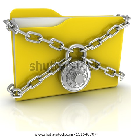 Big yellow folder with a combination lock - stock photo