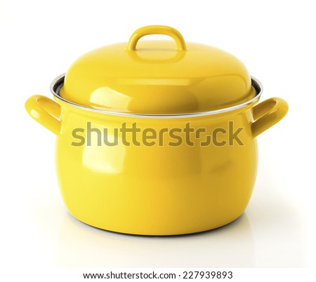 Big Yellow kitchen pot isolated on white background - stock photo