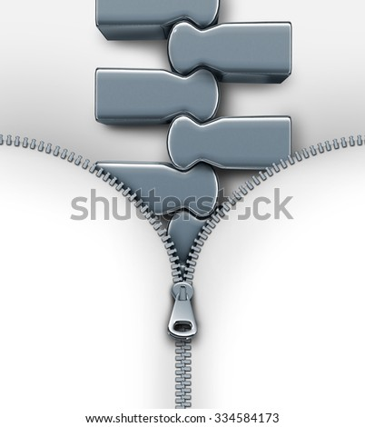 Bigger and better concept as an open zipper revealing very big links as a metaphor for growth and success or a larger obstacle to get through as a business metaphor. - stock photo