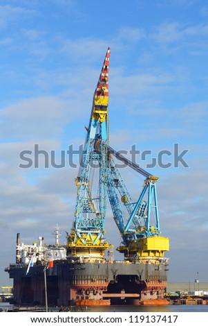 biggest crane vessel in the world - stock photo