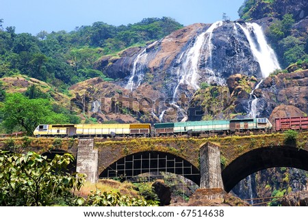 Biggest waterfall in goa. with its scenic beauty attracting thousands of tourists every year. - stock photo