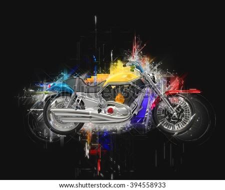 Bike abstract illustration - stock photo