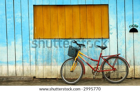 Bike Against Old Building - stock photo