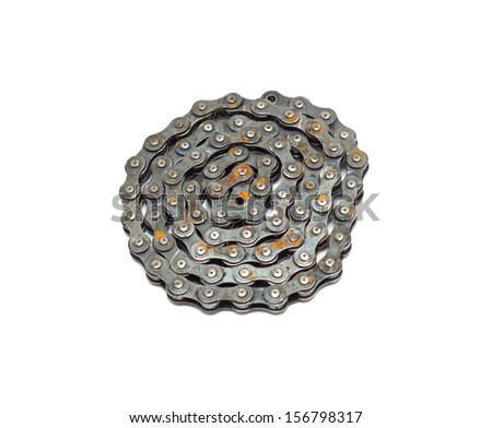 bike chain isolated on white background - stock photo
