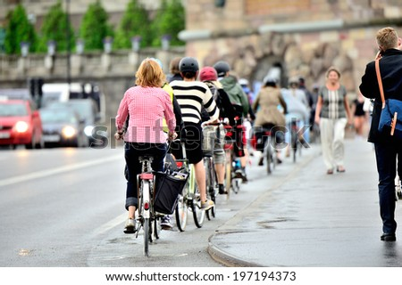 Bike crowd in central Stockholm, Sweden - stock photo