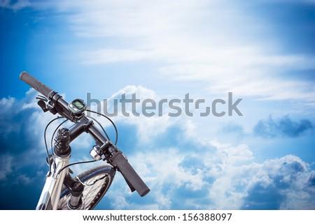 bike flying in the sky  - stock photo