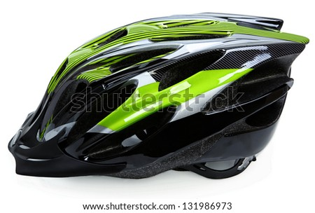 Bike Helmet Isolated On White Background - stock photo