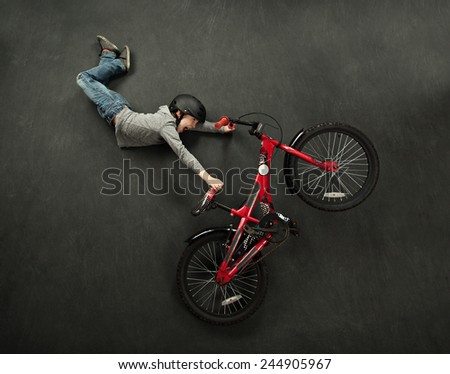 Bike jump boy - stock photo