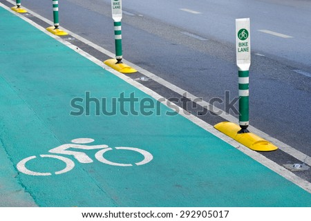 bike lane pole in bangkok thailand - stock photo