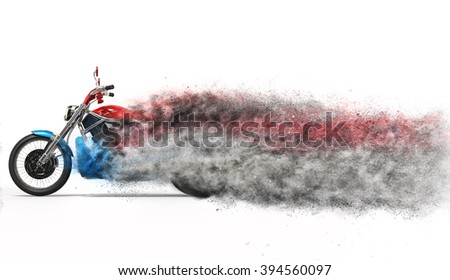 Bike - particle dispersion - stock photo