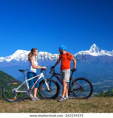 Biker family in Himalaya mountains, Annapurna region - stock photo