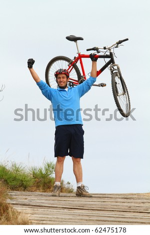biker full of energy - stock photo