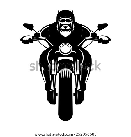 Biker icon. A man in a helmet with a beard on a motorcycle - stock photo