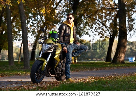 Biker man - stock photo