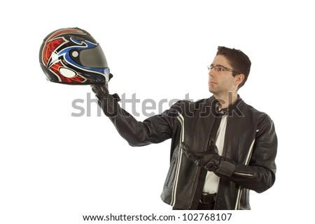 Biker posing with a helmet as a modern Hamlet - stock photo