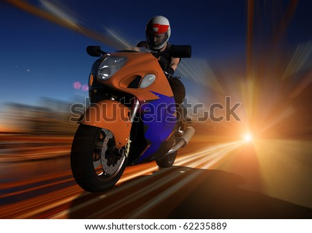 Biker to sped along the road - stock photo