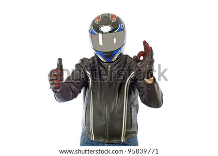 Biker with the helmet showing O.K. - stock photo