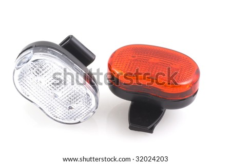 Bikers safety lights on a white background - stock photo