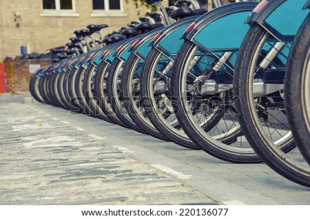 Bikes for rent in London - stock photo