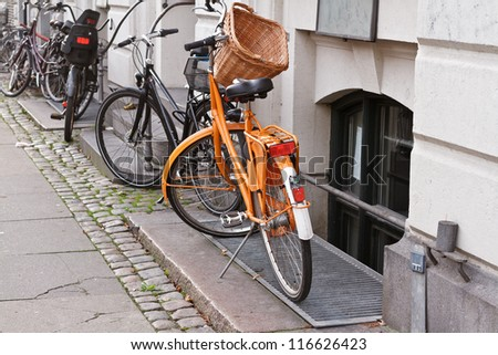 bikes in Copenhagen, Denmark - stock photo