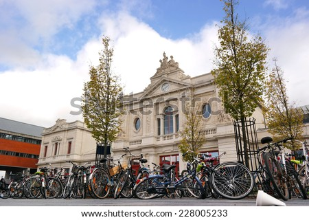 Bikes in front of Leuven Station the main railway station in the Belgian city of Leuven, Belgium - stock photo
