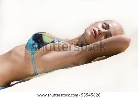 Bikini Fashion Model on sun beach - stock photo