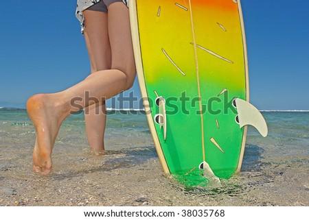 bikini girl with surfboard - stock photo