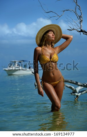 Bikini model in straw hat posing sexy in front of camera at tropical beach location with drift wood tree and fishing boat on background - stock photo