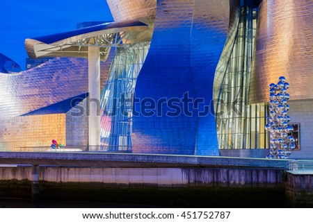 BILBAO, SPAIN - June 19, 2016: Guggenheim Museum on June 19, 2016 in Bilbao, Spain. This and futuristic museum was designed by Frank Gehry. - stock photo