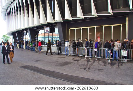 BILBAO, SPAIN - MAY 28 2015:  People queueing for a ticket at San Mames, Athletic Club football team home stadium. Bilbao, Basque Country, Spain - stock photo