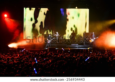 BILBAO, SPAIN - OCT 31: Placebo (band) live performance at Bime Festival on October 31, 2014 in Bilbao, Spain. - stock photo