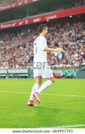 BILBAO, SPAIN - SEPTEMBER 23: Cristiano Ronaldo in the match between Athletic Bilbao and Real Madrid, celebrated on September 23, 2015 in Bilbao, Spain - stock photo