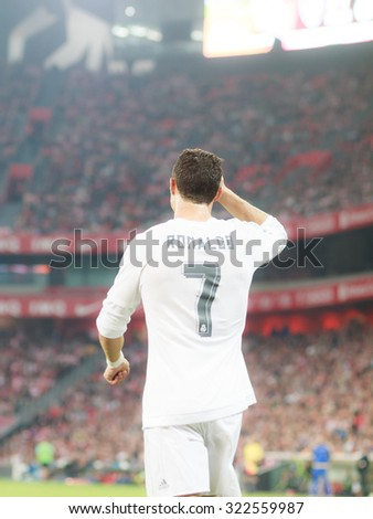 BILBAO, SPAIN - SEPTEMBER 23: Cristiano Ronaldo in the match in the San Mames Stadium, on September 23, 2015 in Bilbao, Spain - stock photo