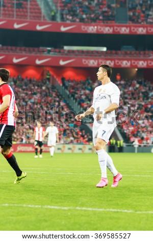 BILBAO, SPAIN - SEPTEMBER 23: Cristiano Ronaldo in the San Mames Stadium, on September 23, 2015 in Bilbao, Spain - stock photo