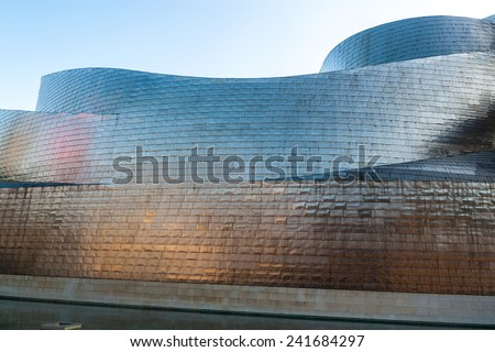 BILBAO, SPAIN - SEPTEMBER 27: Detail of Guggenheim Museum on September 27, 2014 in Bilbao, Spain. This picturesque and futuristic museum was designed by Frank Gehry. - stock photo