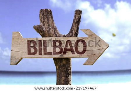 Bilbao wooden sign with a beach on background - stock photo