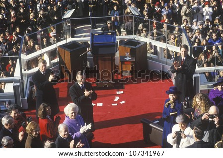 Bill Clinton being welcomed as 42nd President, on Inauguration Day 1993, Washington, DC - stock photo