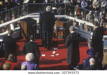 Bill Clinton stands in prayer as 42nd President, on Inauguration Day 1993, Washington, DC - stock photo