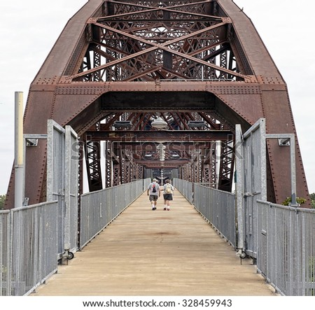 Bill Clinton truss bridge in Little Rock, Arkansas. - stock photo