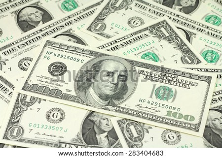 bill hundred dollars abstract background - stock photo