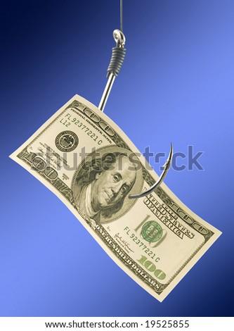 bill on big fishhook. - stock photo