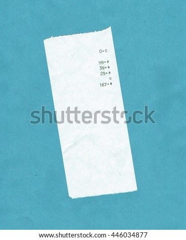 bill or receipt isolated over light blue background - stock photo