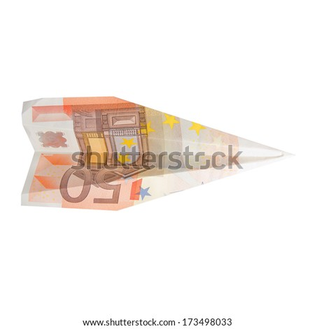 bill plane. fifty euros - stock photo