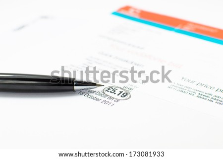 Bill with amount circled with Black Pen  - stock photo