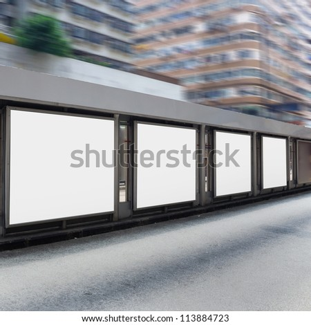Billboard at bus stop - stock photo