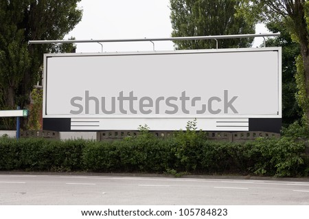 Billboard on the street, there is a path for the label - stock photo