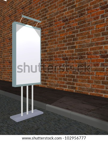 Billboard vertical stand on street city design 3d on white background - stock photo