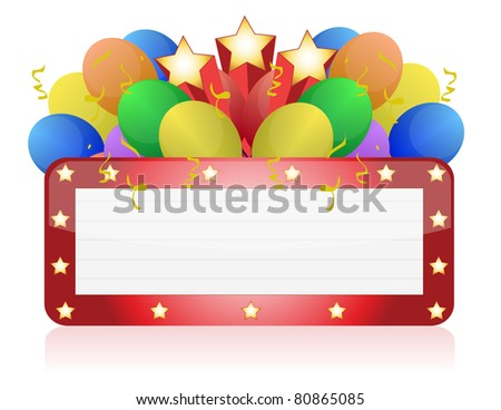 billboard with balloons and confetti. Ready for celebrating and entertainment - stock photo